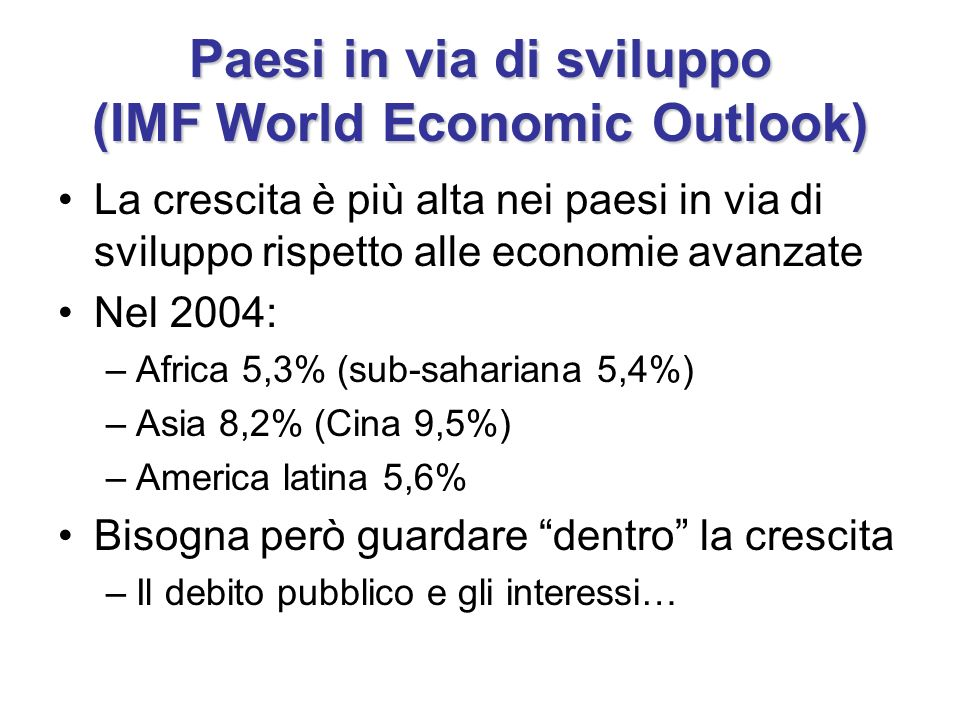 Paesi in via di sviluppo (IMF World Economic Outlook)