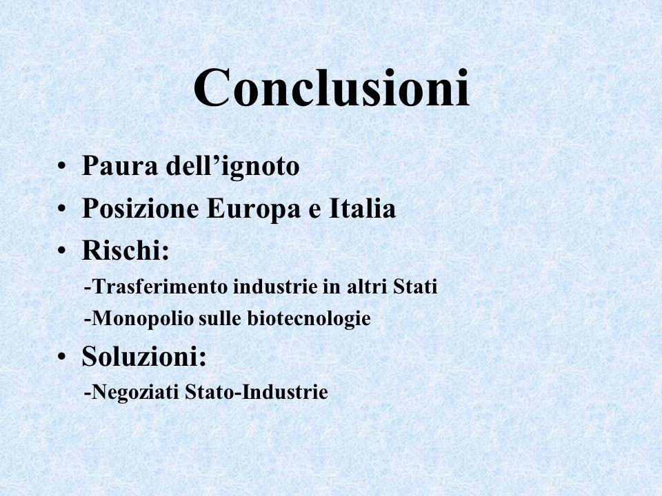Conclusioni Paura dell'ignoto Posizione Europa e Italia Rischi: