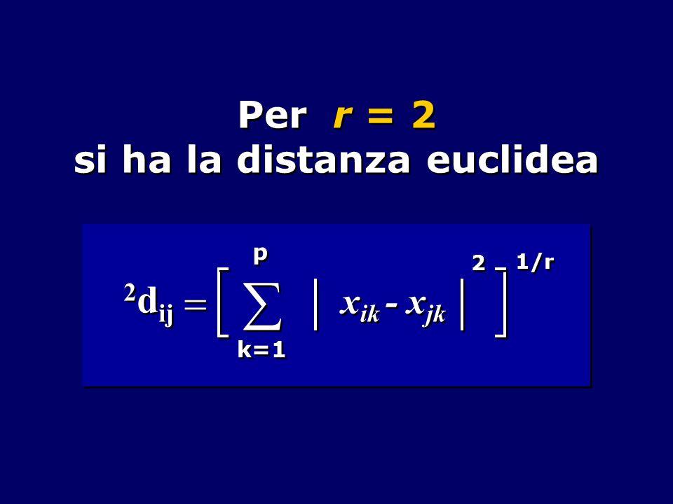 Per r = 2 si ha la distanza euclidea