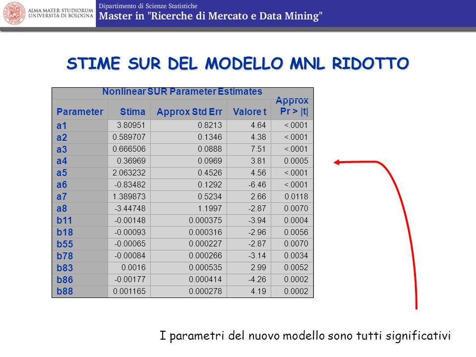 STIME SUR DEL MODELLO MNL RIDOTTO