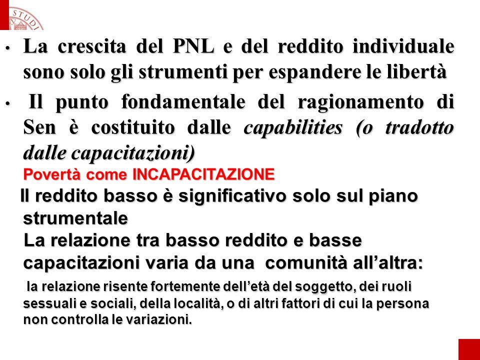 La crescita del PNL e del reddito individuale sono solo gli strumenti per espandere le libertà