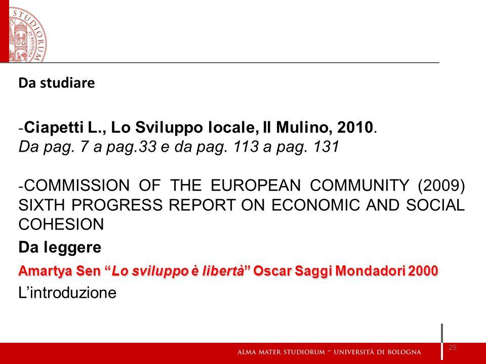 Ciapetti L., Lo Sviluppo locale, Il Mulino, 2010.