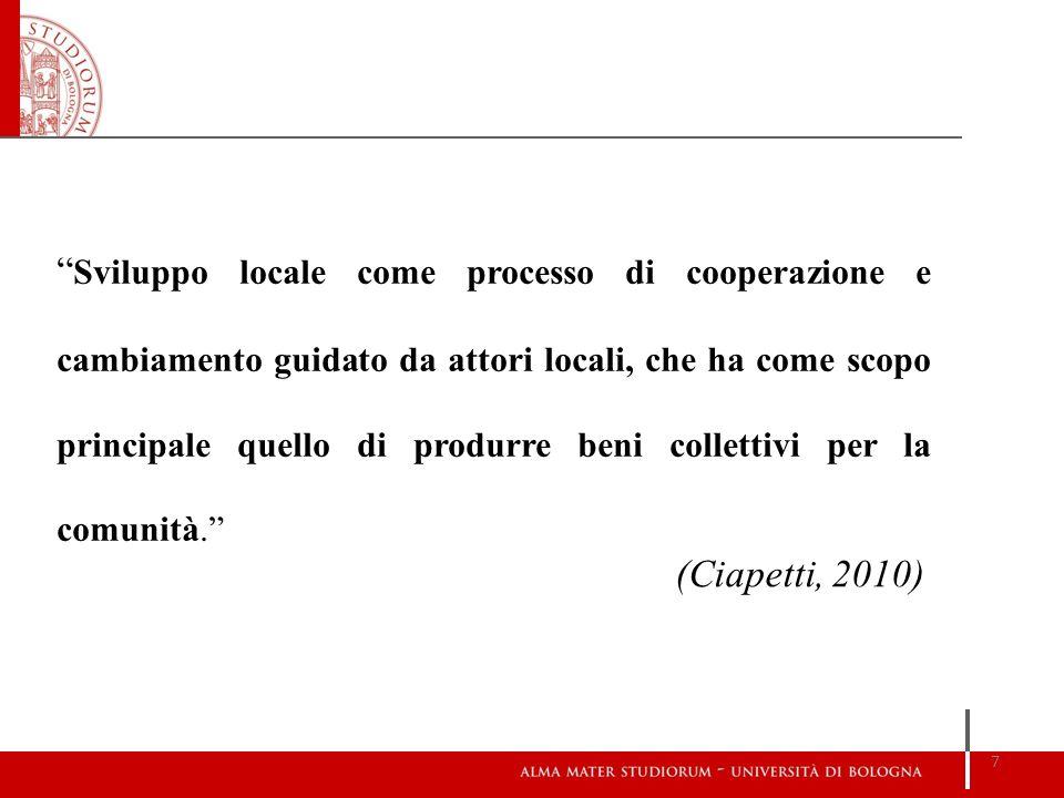 Sviluppo locale come processo di cooperazione e cambiamento guidato da attori locali, che ha come scopo principale quello di produrre beni collettivi per la comunità.