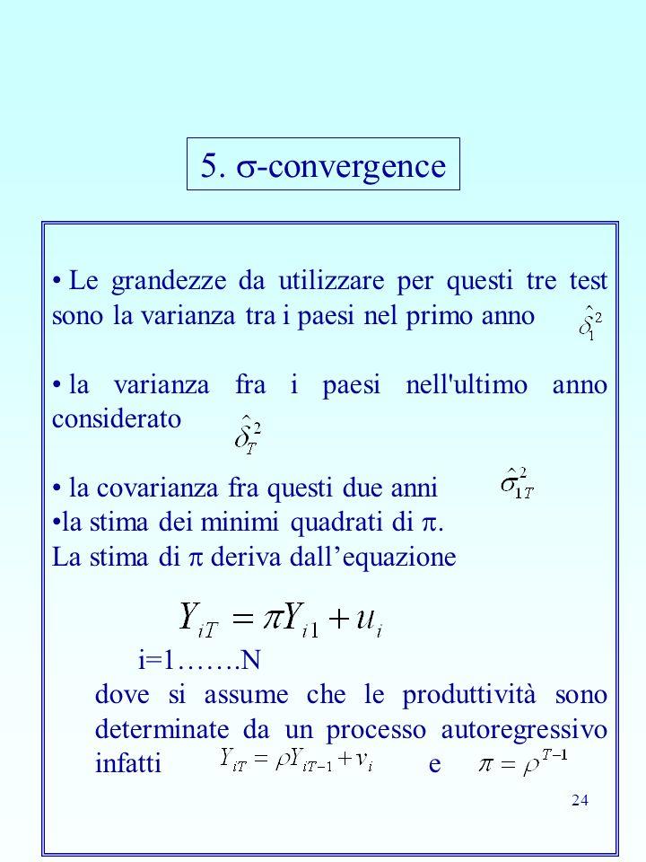 5. -convergence Le grandezze da utilizzare per questi tre test sono la varianza tra i paesi nel primo anno.