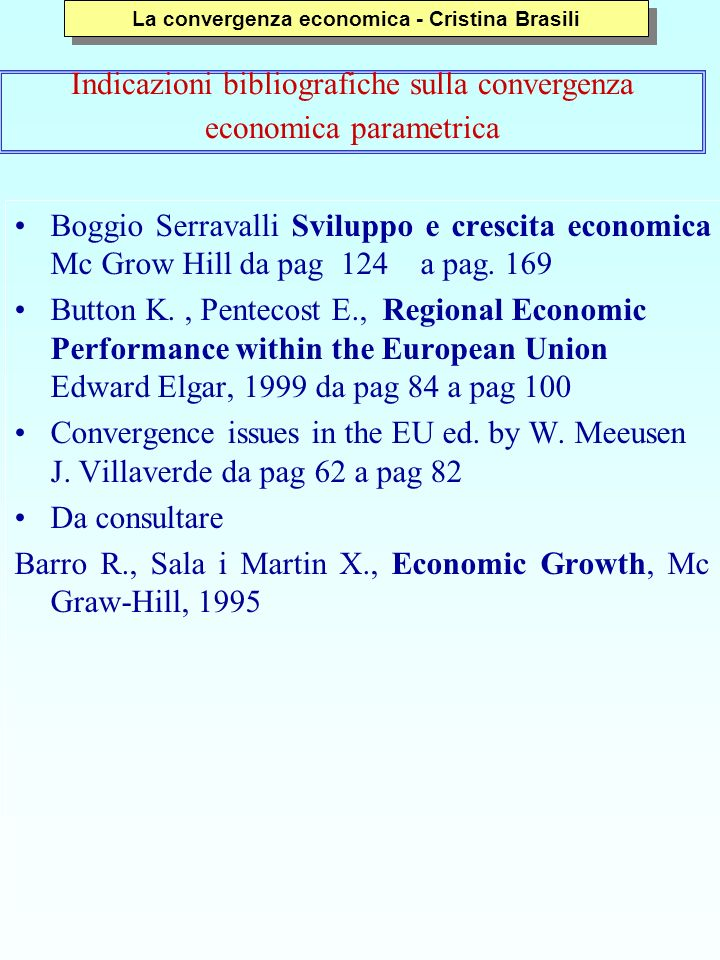 La convergenza economica - Cristina Brasili