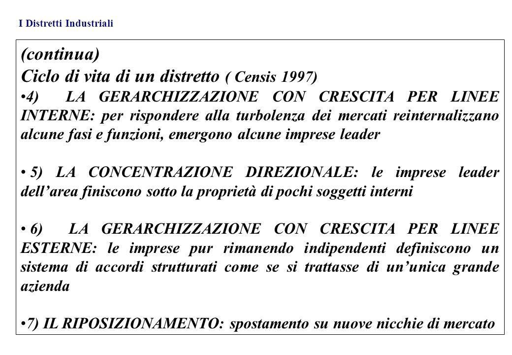 Ciclo di vita di un distretto ( Censis 1997)