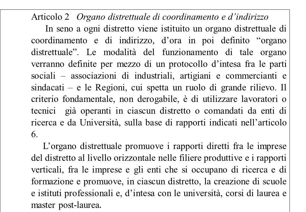 Articolo 2 Organo distrettuale di coordinamento e d'indirizzo