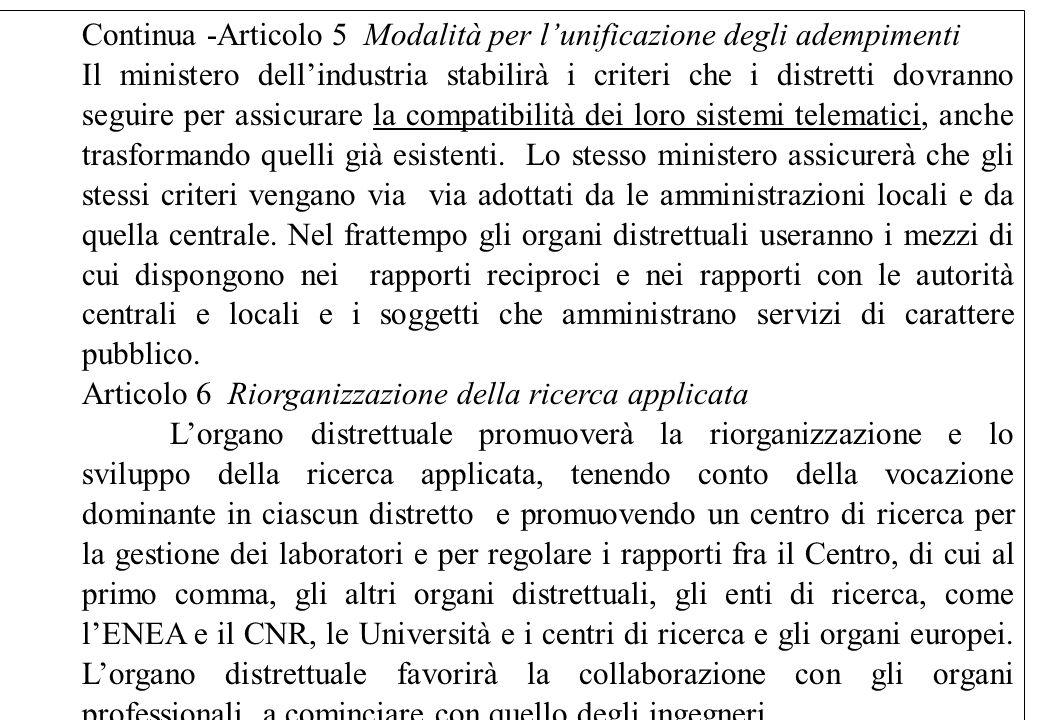 Continua -Articolo 5 Modalità per l'unificazione degli adempimenti