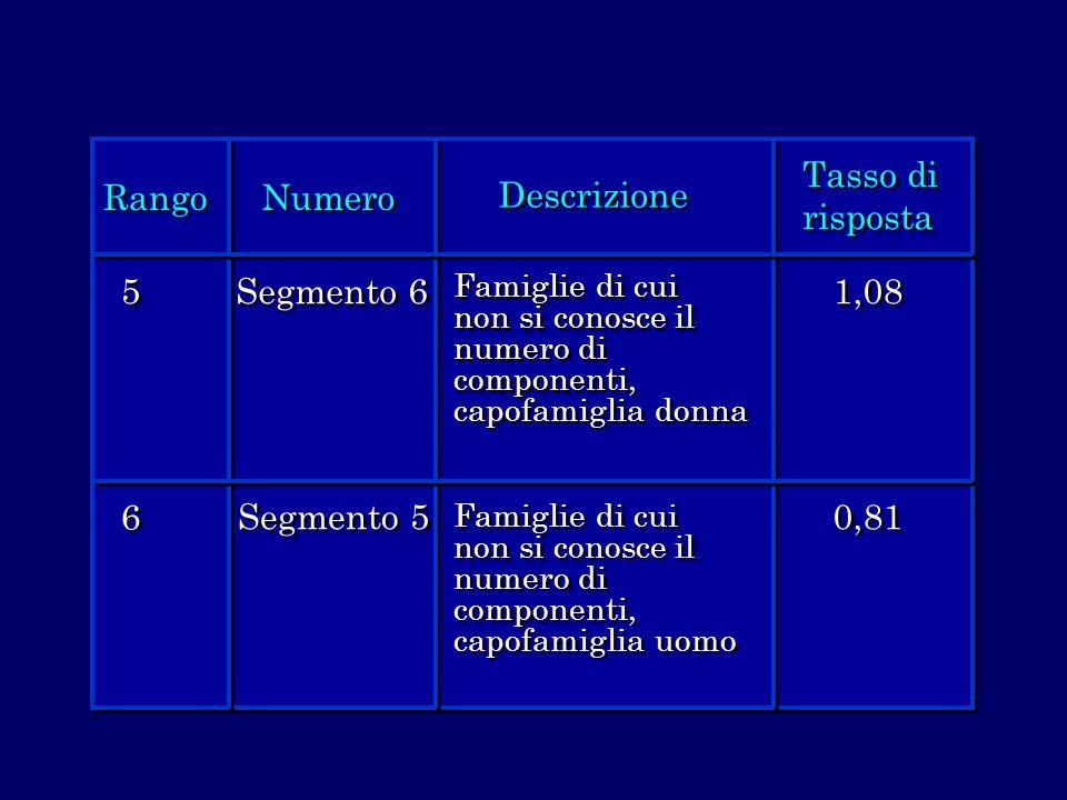 Rango Numero Descrizione Tasso di risposta 5 6 Segmento 6 Segmento 5