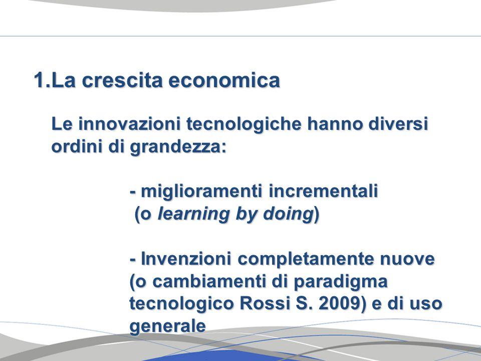La crescita economica Le innovazioni tecnologiche hanno diversi ordini di grandezza: - miglioramenti incrementali.
