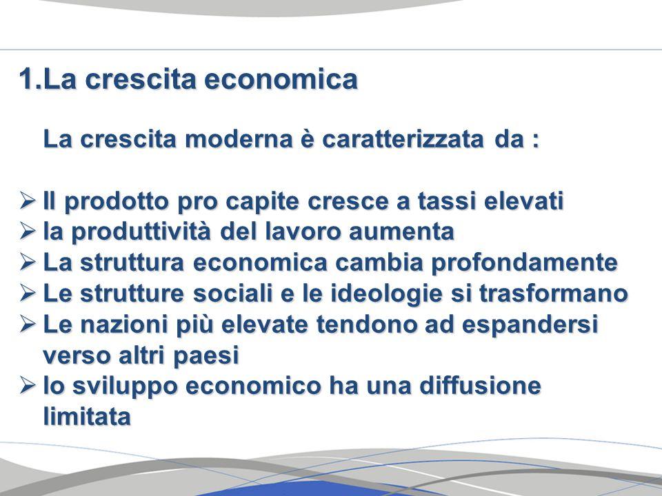 La crescita economica La crescita moderna è caratterizzata da :