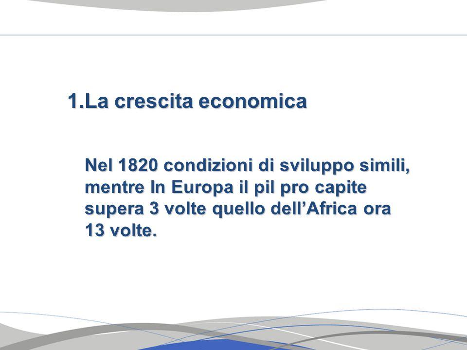 La crescita economica Nel 1820 condizioni di sviluppo simili, mentre In Europa il pil pro capite supera 3 volte quello dell'Africa ora 13 volte.