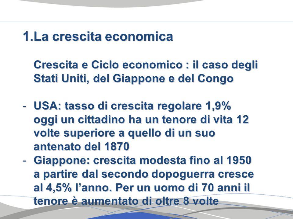 La crescita economica Crescita e Ciclo economico : il caso degli Stati Uniti, del Giappone e del Congo.