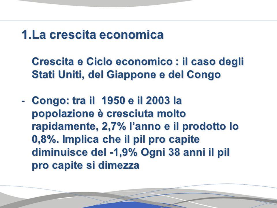 La crescita economicaCrescita e Ciclo economico : il caso degli Stati Uniti, del Giappone e del Congo.