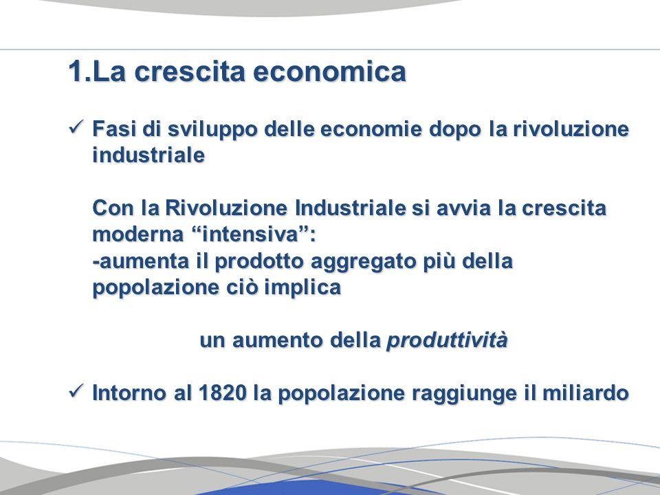 La crescita economica Fasi di sviluppo delle economie dopo la rivoluzione industriale.