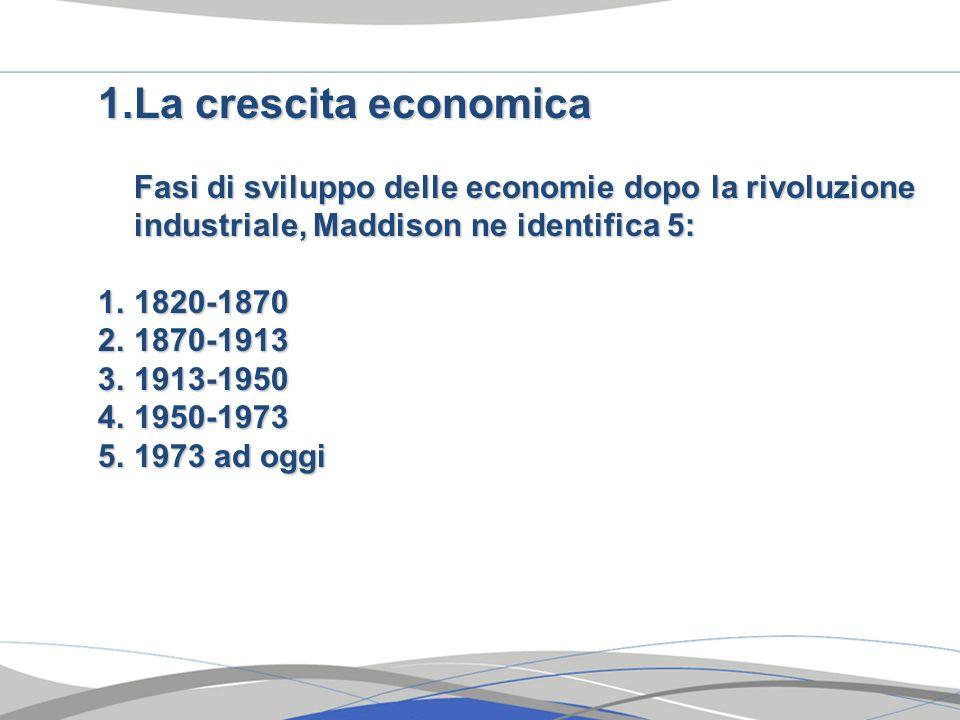 La crescita economica Fasi di sviluppo delle economie dopo la rivoluzione industriale, Maddison ne identifica 5: