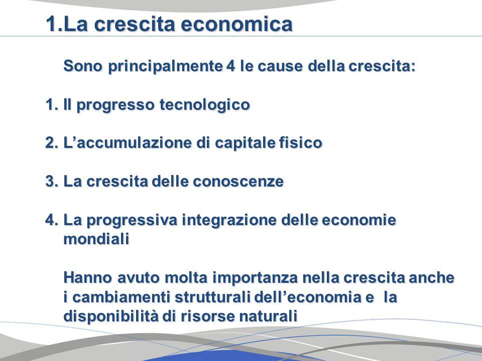 La crescita economica Sono principalmente 4 le cause della crescita: