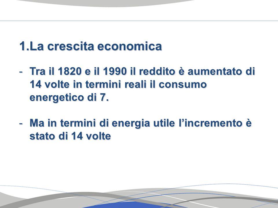 La crescita economicaTra il 1820 e il 1990 il reddito è aumentato di 14 volte in termini reali il consumo energetico di 7.