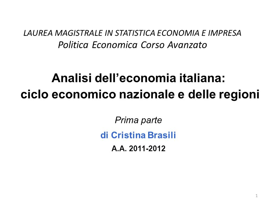 Analisi dell'economia italiana:
