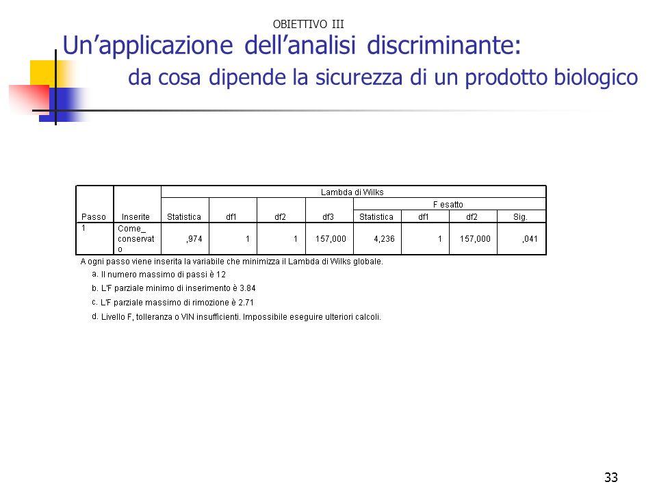 Un'applicazione dell'analisi discriminante: