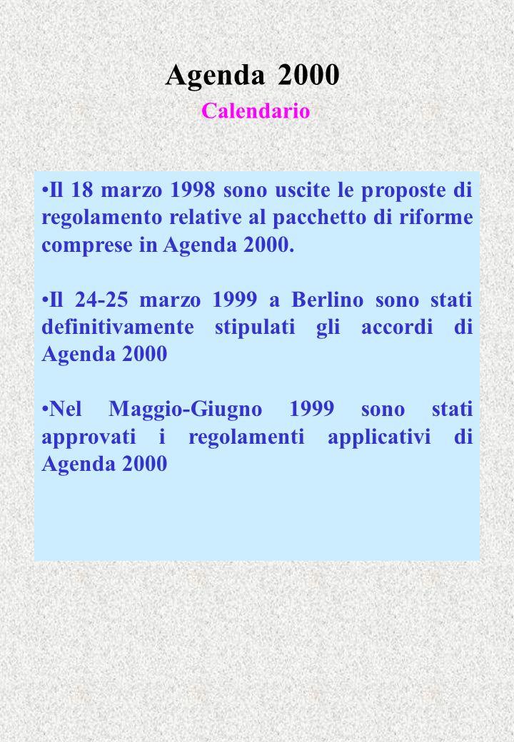 Agenda 2000 Calendario Il 18 marzo 1998 sono uscite le proposte di regolamento relative al pacchetto di riforme comprese in Agenda 2000.