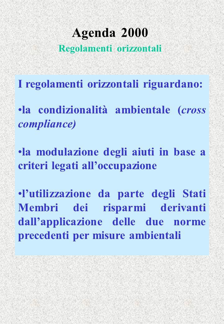 Agenda 2000 Regolamenti orizzontali