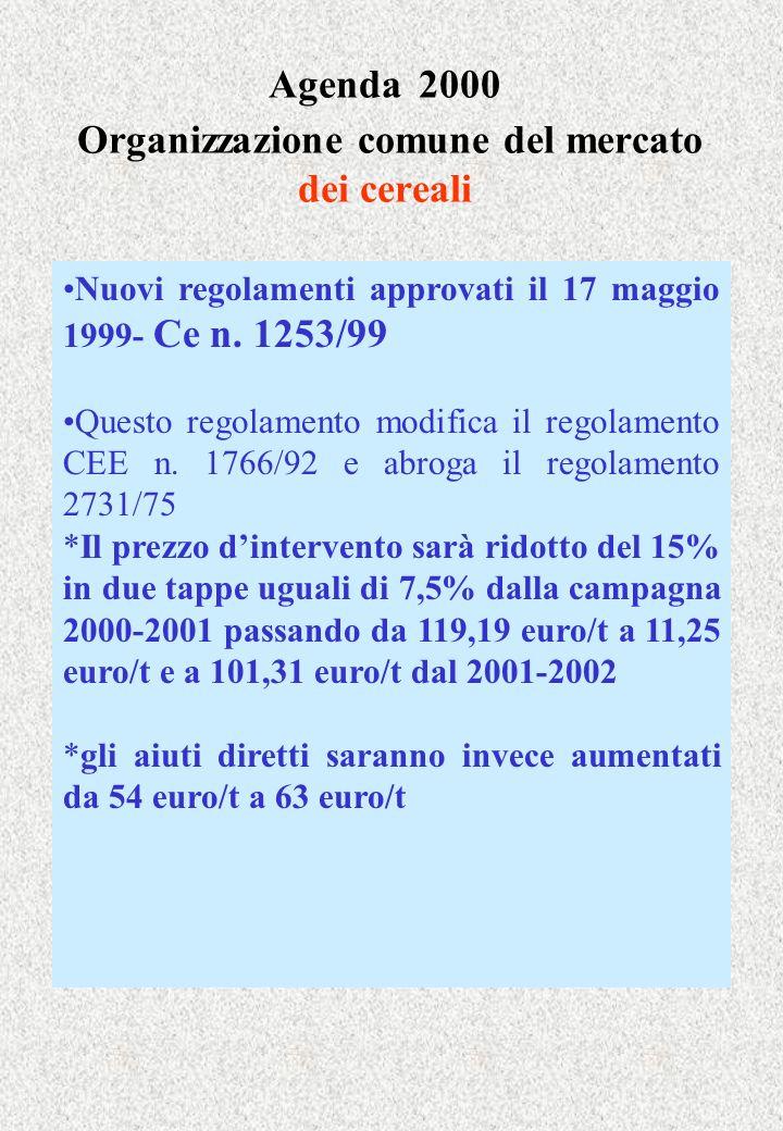 Agenda 2000 Organizzazione comune del mercato dei cereali