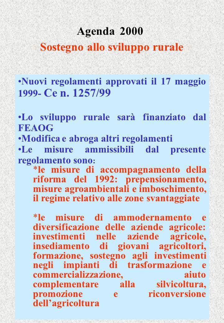 Agenda 2000 Sostegno allo sviluppo rurale