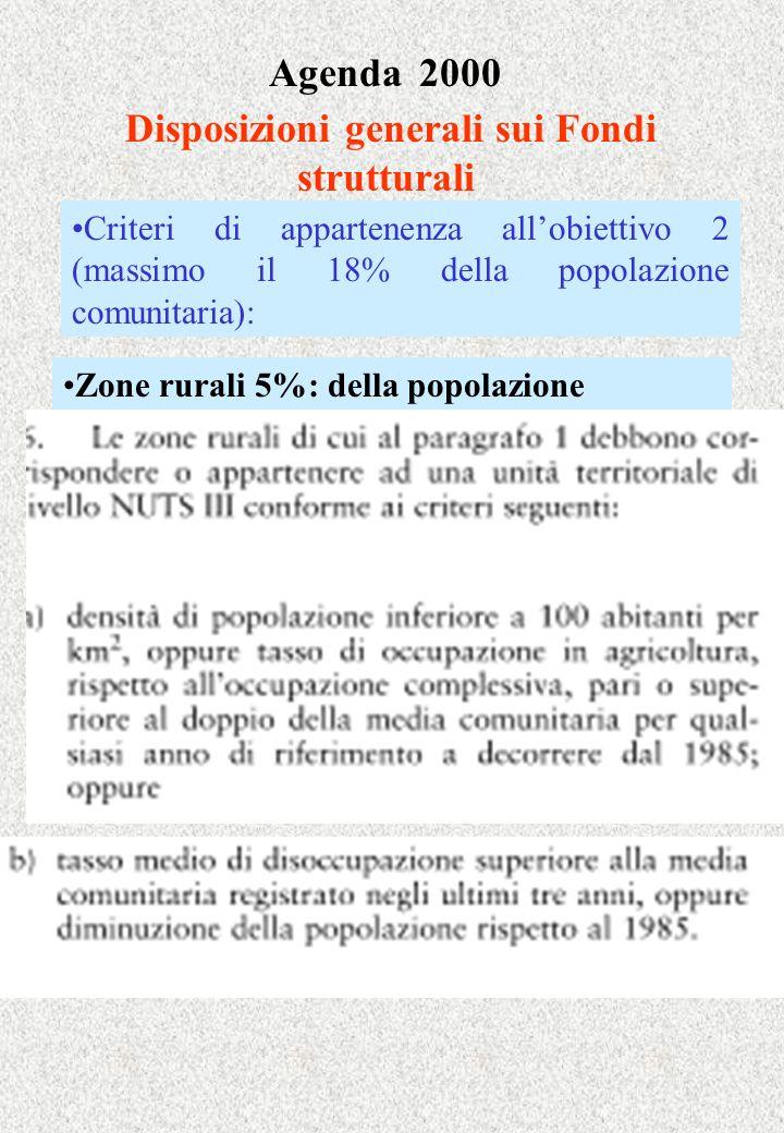 Agenda 2000 Disposizioni generali sui Fondi strutturali