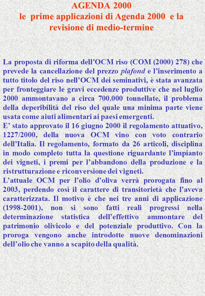 AGENDA 2000 le prime applicazioni di Agenda 2000 e la revisione di medio-termine