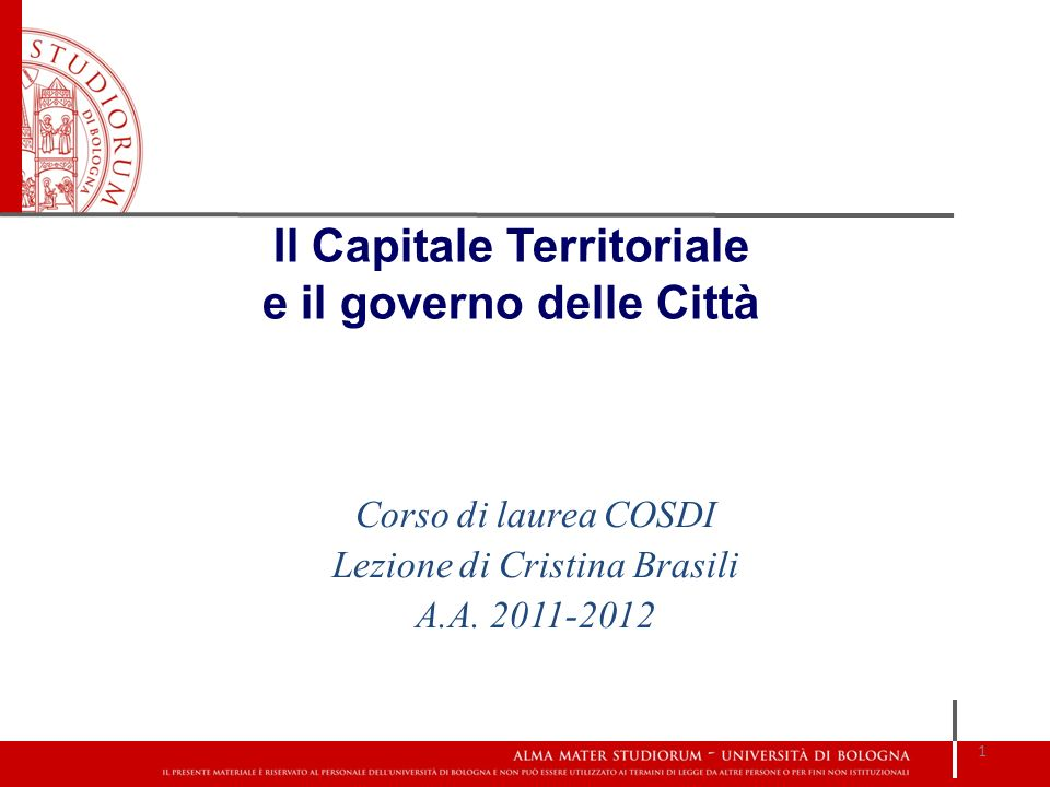 Il Capitale Territoriale e il governo delle Città