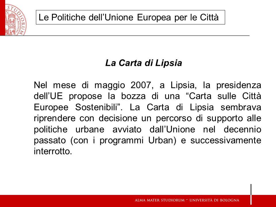 Le Politiche dell'Unione Europea per le Città