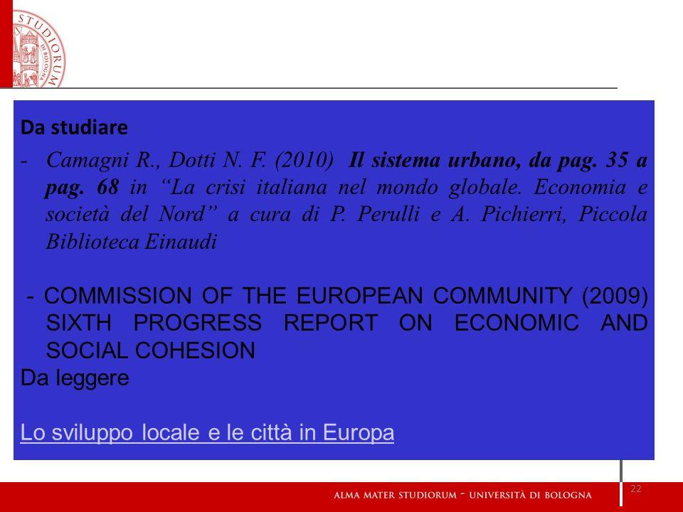 Lo sviluppo locale e le città in Europa