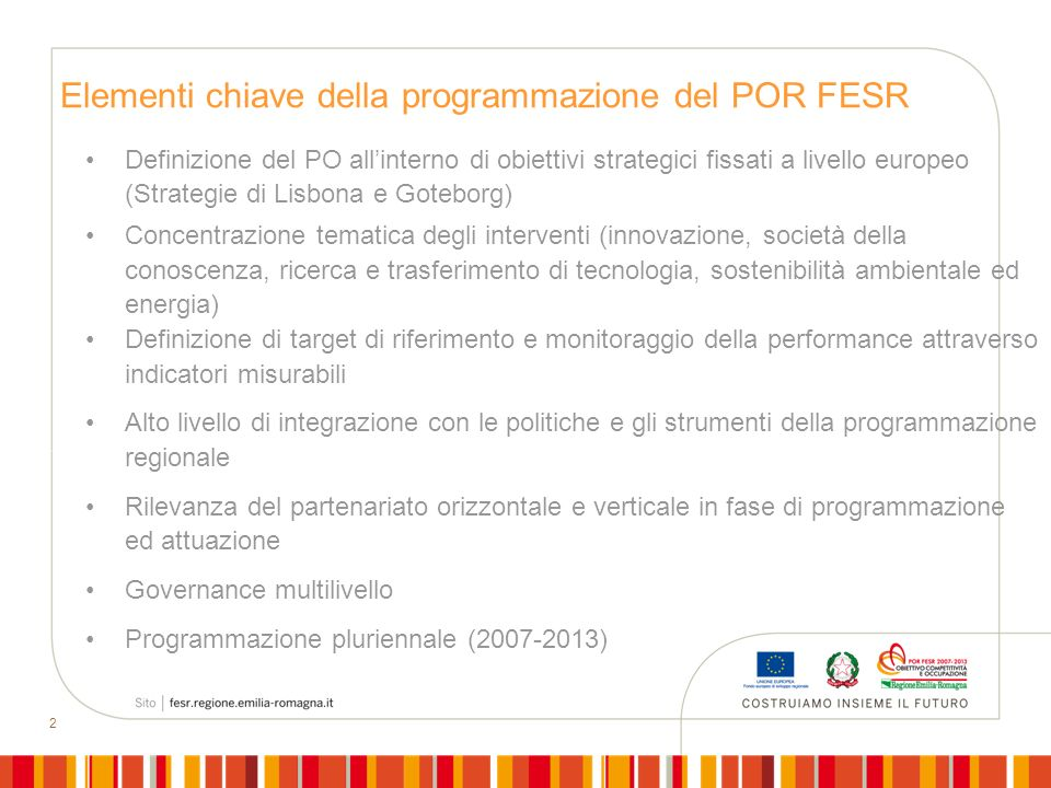 Elementi chiave della programmazione del POR FESR