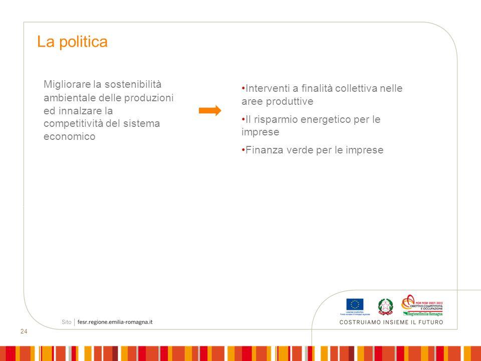 La politica Interventi a finalità collettiva nelle aree produttive. Il risparmio energetico per le imprese.