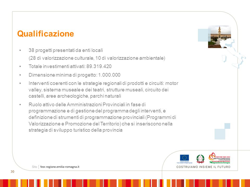 Qualificazione 38 progetti presentati da enti locali