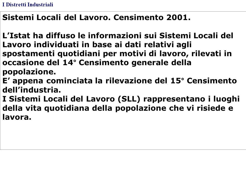 Sistemi Locali del Lavoro. Censimento 2001.
