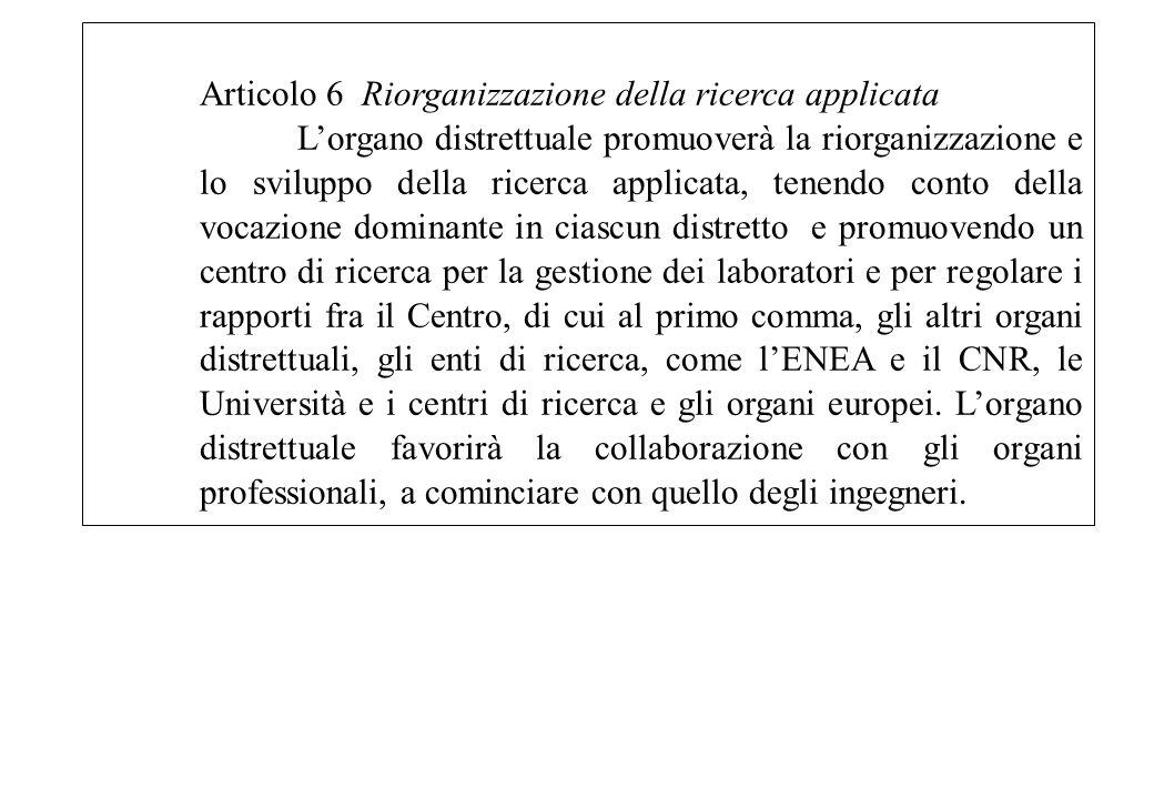 Articolo 6 Riorganizzazione della ricerca applicata