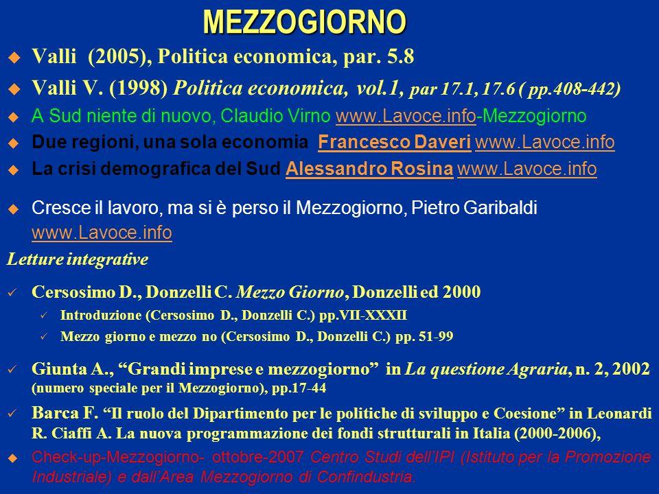 MEZZOGIORNO Valli (2005), Politica economica, par. 5.8