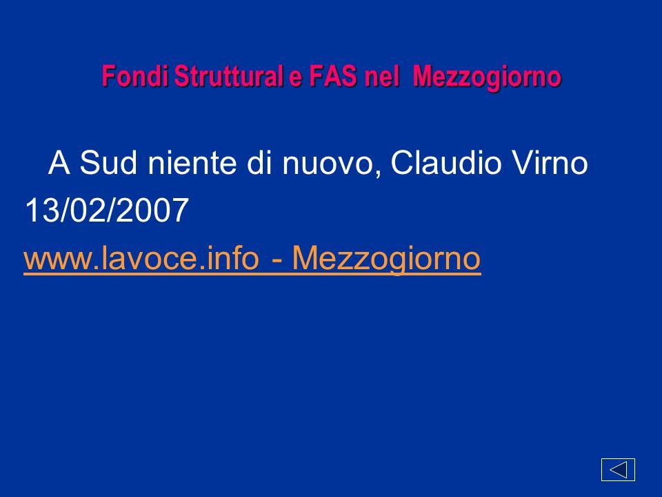 Fondi Struttural e FAS nel Mezzogiorno