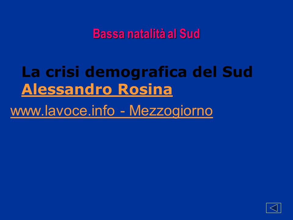 Bassa natalità al Sud La crisi demografica del Sud Alessandro Rosina www.lavoce.info - Mezzogiorno