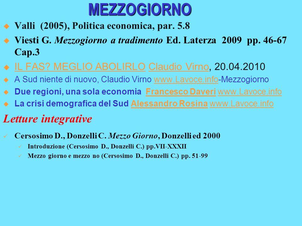 MEZZOGIORNO Letture integrative