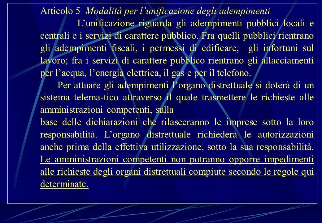 Articolo 5 Modalità per l'unificazione degli adempimenti