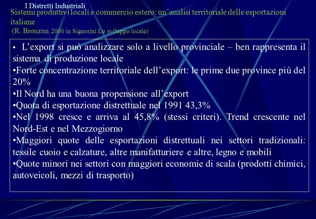 Il Nord ha una buona propensione all'export