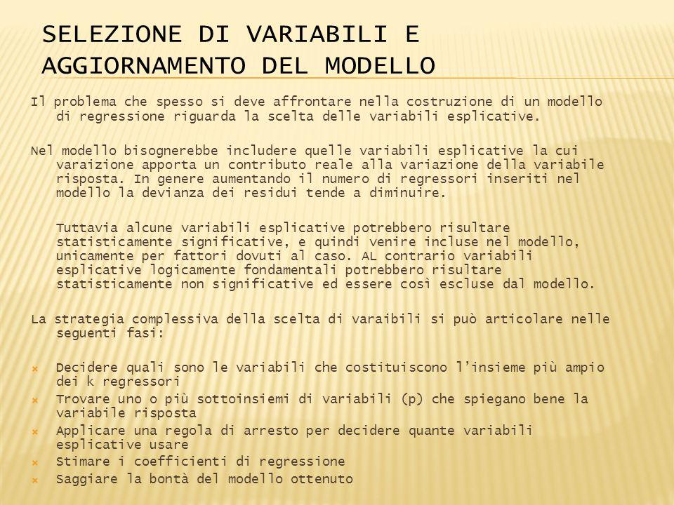 SELEZIONE DI VARIABILI E AGGIORNAMENTO DEL MODELLO