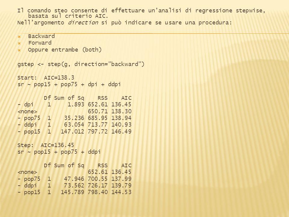 Il comando steo consente di effettuare un'analisi di regressione stepwise, basata sul criterio AIC.