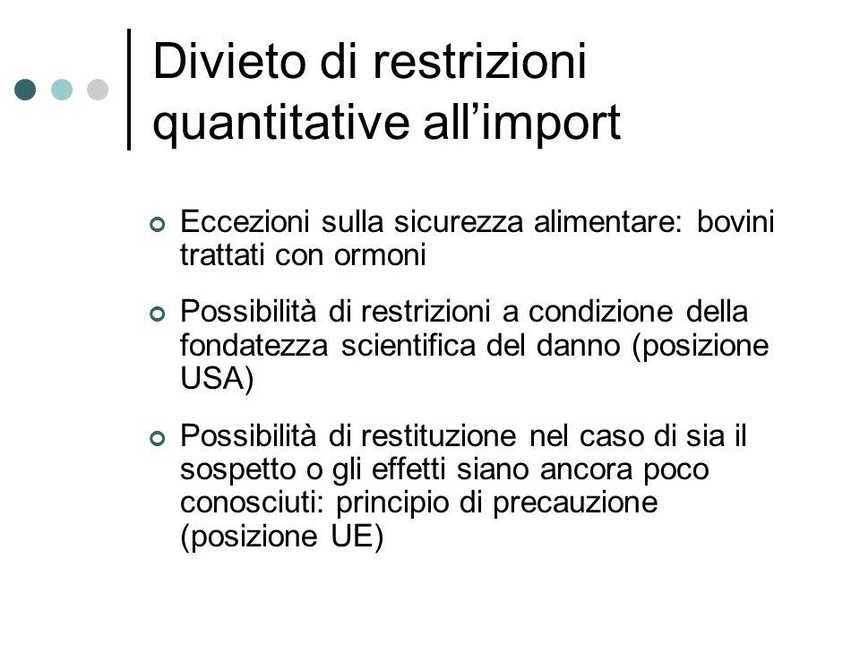 Divieto di restrizioni quantitative all'import