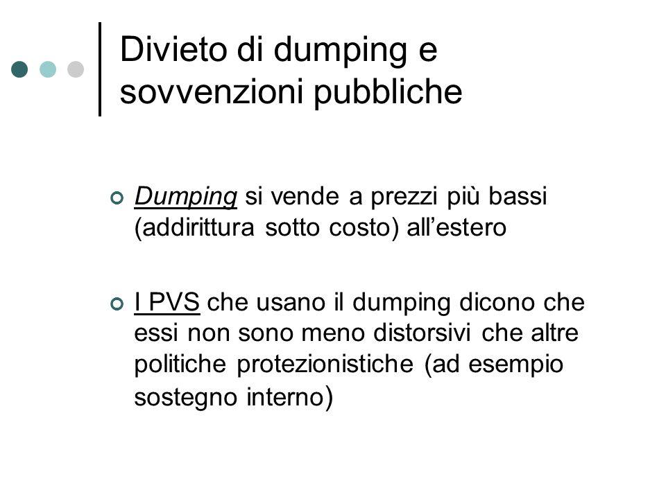 Divieto di dumping e sovvenzioni pubbliche