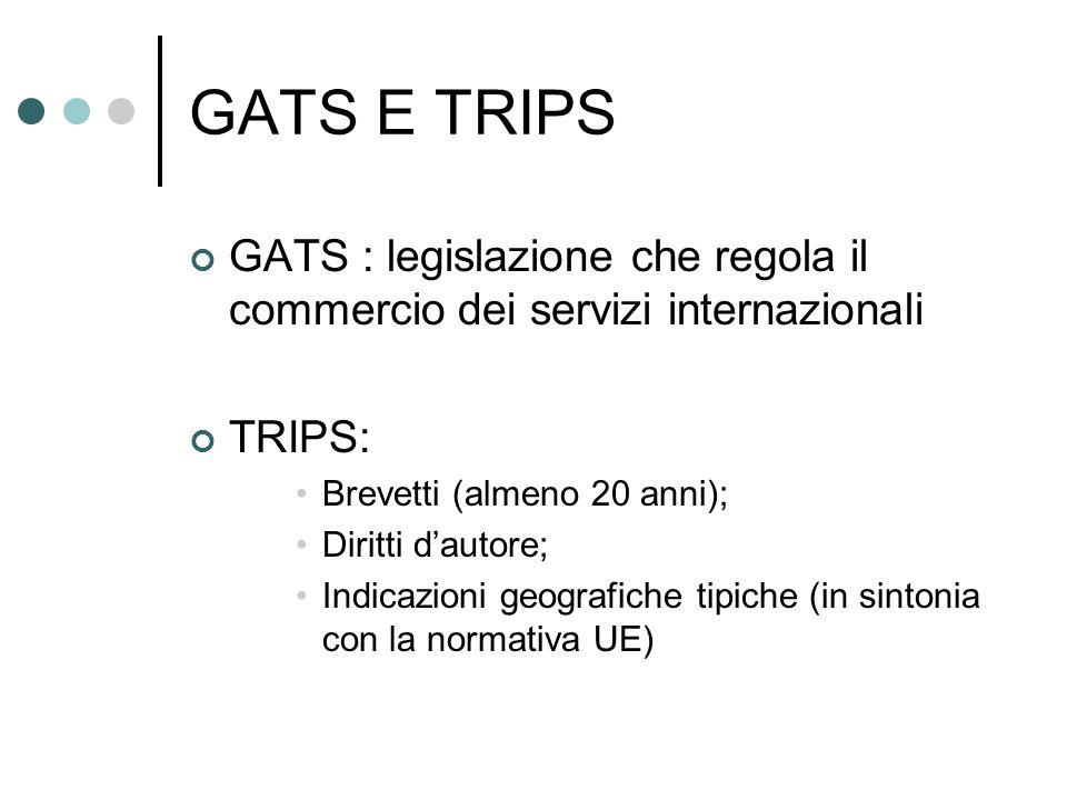 GATS E TRIPS GATS : legislazione che regola il commercio dei servizi internazionali. TRIPS: Brevetti (almeno 20 anni);
