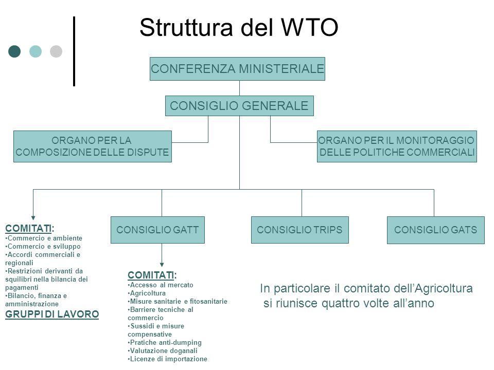 Struttura del WTO CONFERENZA MINISTERIALE CONSIGLIO GENERALE